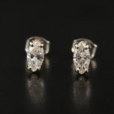 14K 0.67 CTW Marquise Cut Diamond Stud Earrings