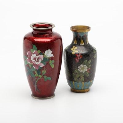 Japanese Ginbari Cloisonne Pigeon Blood Rose Vase and Chinese Cloisonne Vase