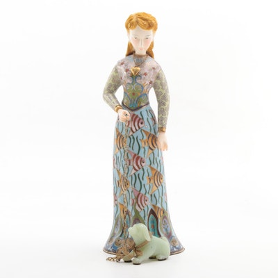 Cloisonné and Bisque Woman Figurine with Carved Stone Dog, Late 20th Century