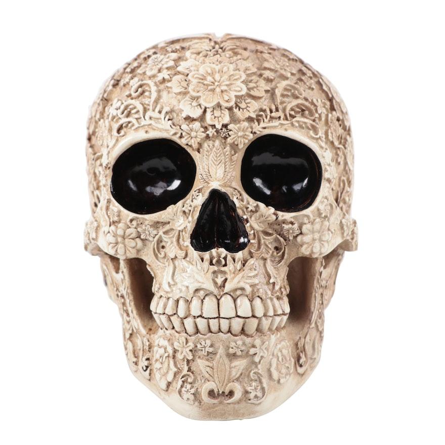 Cast Resin Calavera Skull Figurine