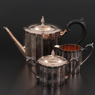 """Lunt """"Paul Revere"""" Silver Plate Coffee Set, Mid to Late 20th Century"""