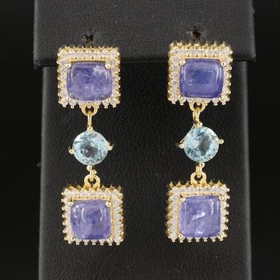 Sterling Tanzanite, Sky Blue Topaz and Cubic Zirconia Drop Earrings
