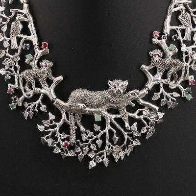 Sterling Emerald, Ruby and Gemstone Jungle Animal Necklace