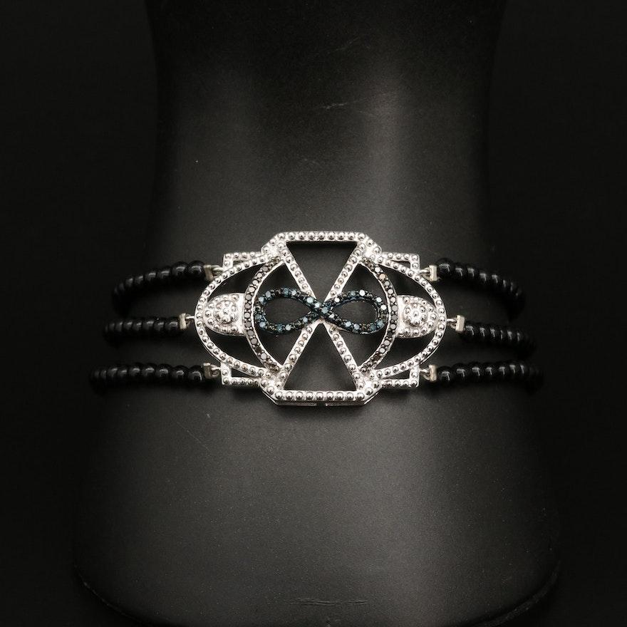 Sterling Silver Black Onyx and Diamond Bracelet with Infinity Motif