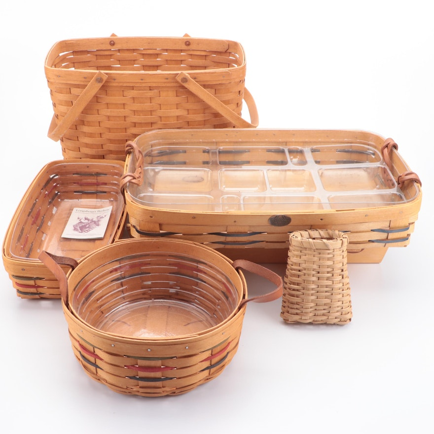 Longaberger and Peterboro Basket Co. Woven Baskets, Late 20th Century