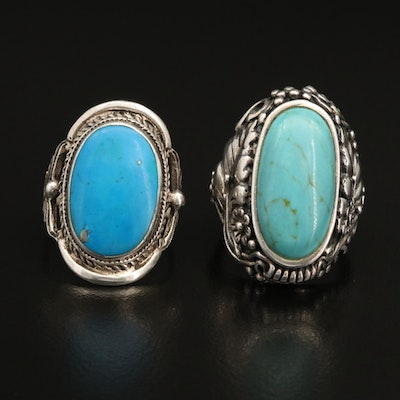 Sterling Silver Faux Turquoise Rings with Floral Details