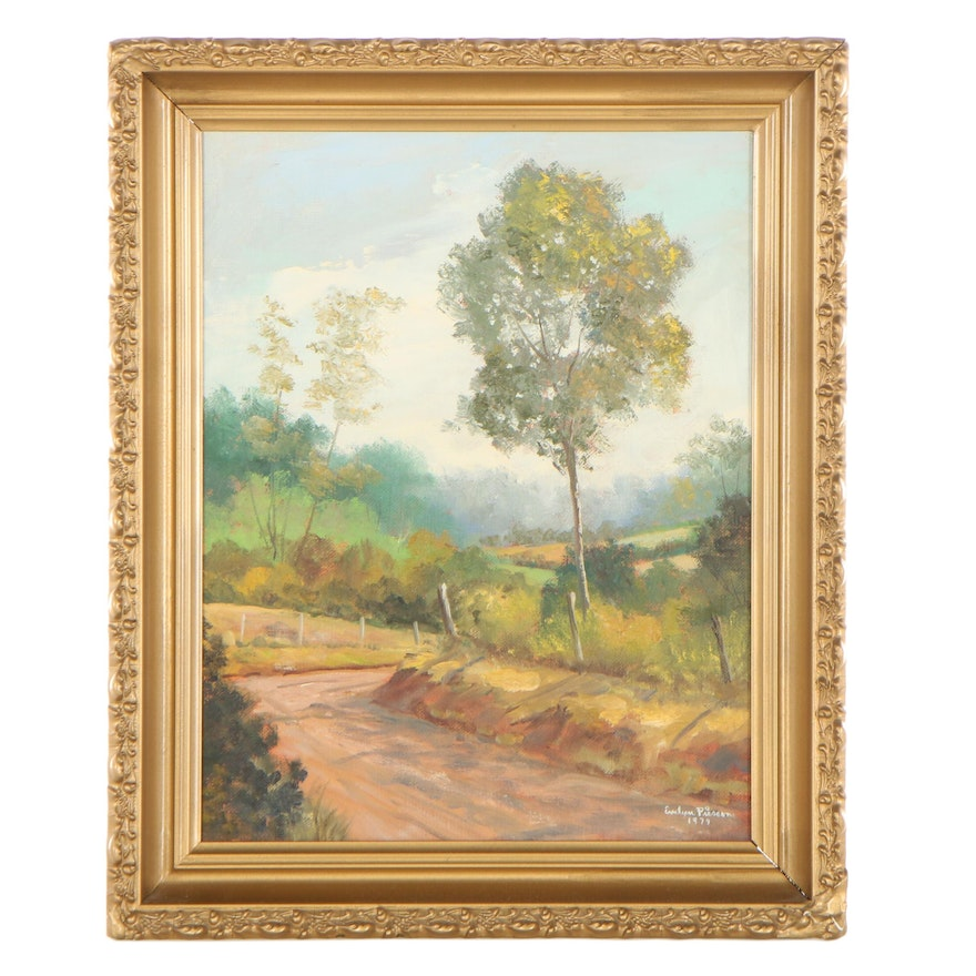 Evelyn Pierson Landscape Oil Painting of Trees and Path, 1979