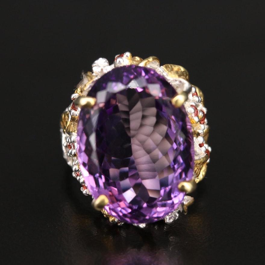 Sterling Amethyst and Garnet Foliate Ring