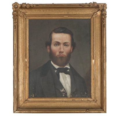 American School Portrait Oil Painting of Bearded Man Attributed to S. Jerome Uhl