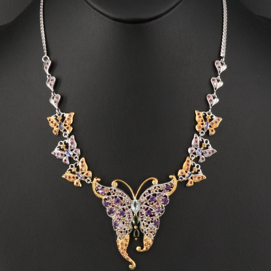 Sterling Amethyst, Aquamarine and Gemstone Butterfly Necklace