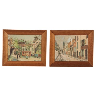 """Offset Lithographs After Maurice Utrillo """"Eglise de Stains"""" and """"Montmarte"""""""