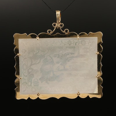 14K Enhancer Pendant with Carved Mother of Pearl Reversible Scenes