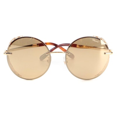 Chopard Embellished Round 23KT Gold Plated Filigree Frame Sunglasses with Case