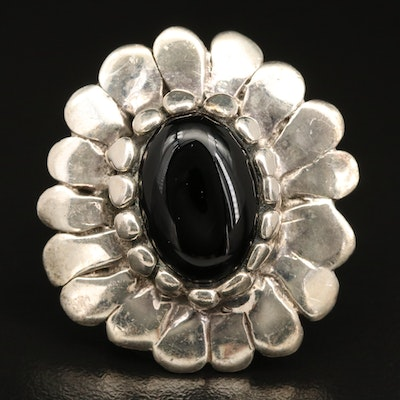 Sterling Silver and Black Onyx Flower Ring