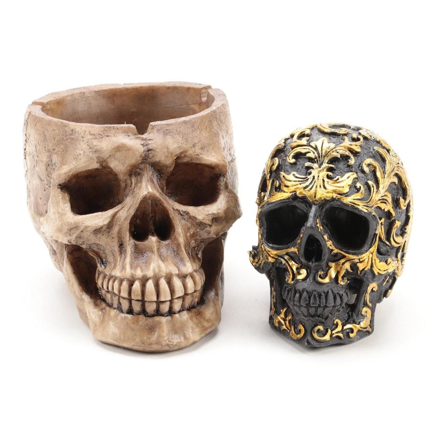 Resin Skull Replica Ashtray with Gilt Foliate Motif Skull Figurine