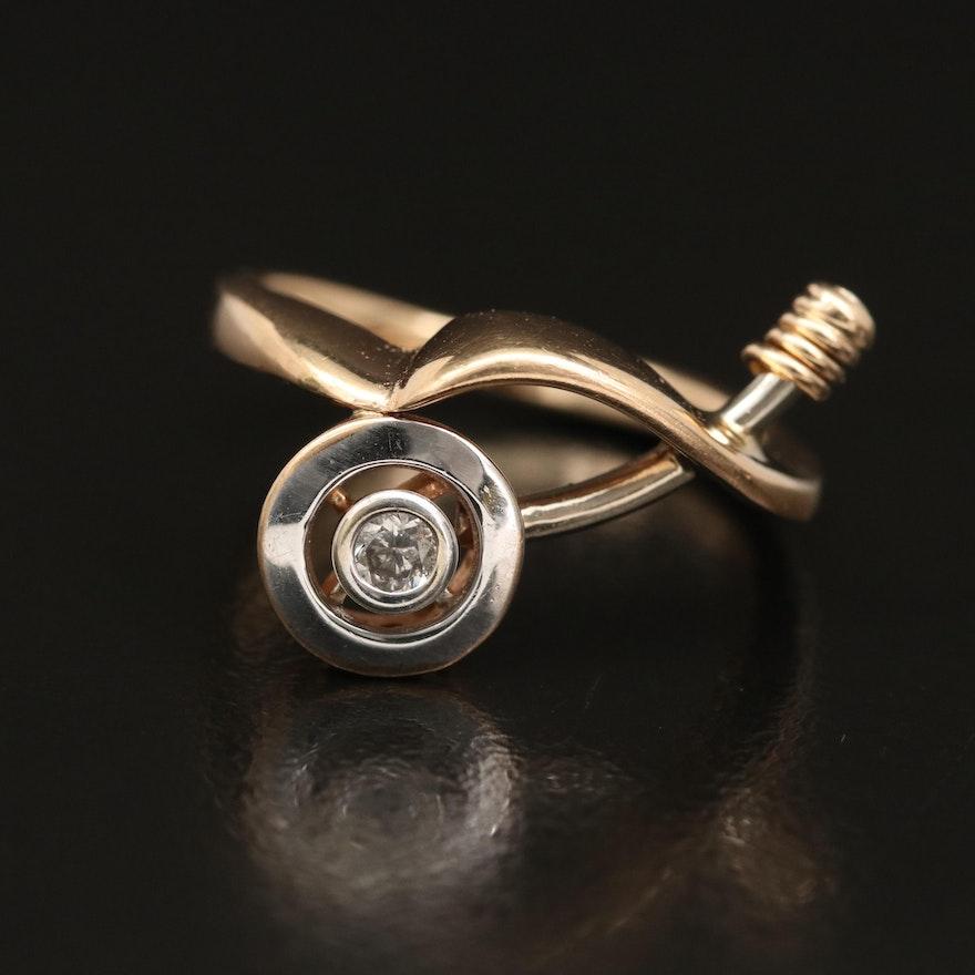 Modern 14K Diamond Ring