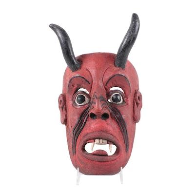 "Mexican ""Diablo"" Polychrome Wood Mask"
