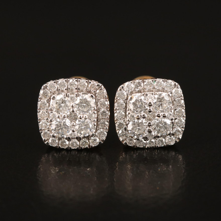 14K 1.25 CTW Pavé Diamond Earrings