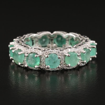 Sterling Emerald and Cubic Zirconia Eternity Band