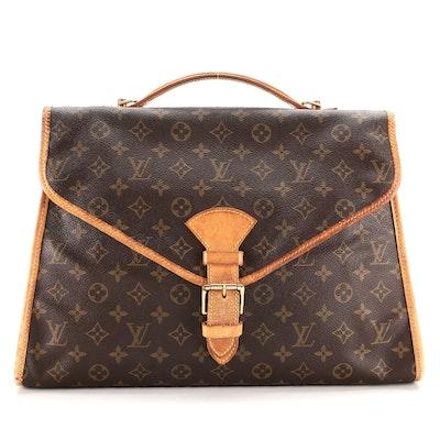 Louis Vuitton Beverly Briefcase MM in Monogram Canvas and Vachetta Leather