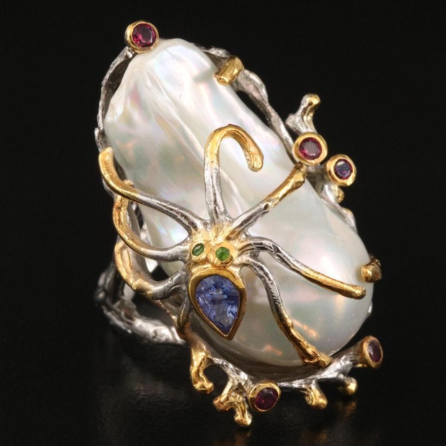 Sterling Pearl, Garnet and Gemstone Spider Ring