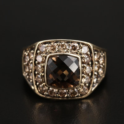 14K Smoky Quartz and 2.59 CTW Diamond Ring