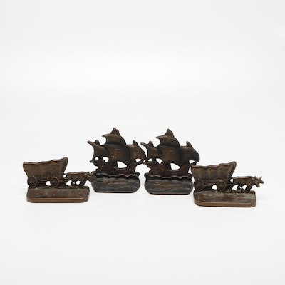 Cast Iron Ship and Covered Wagon Bookends, Mid to Late 20th Century