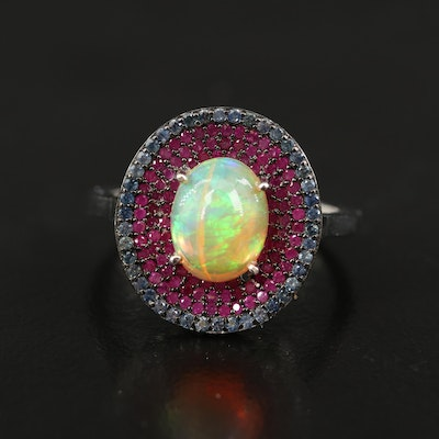 Sterling Opal, Pavé Ruby and Sapphire Ring