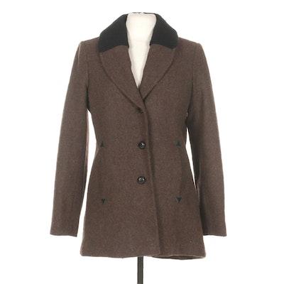 Women's Pendleton Wool Jacket with Black Ribbed Knit Collar