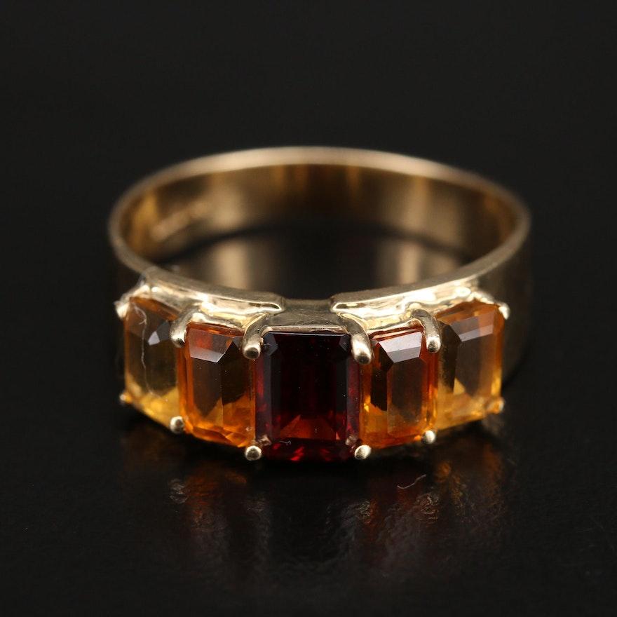 14K Garnet and Citrine Ring