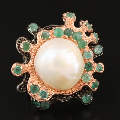 Sterling Pearl and Emerald Biomorphic Ring