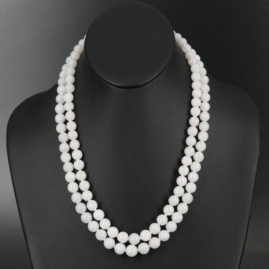 Gump's 14K Longevity Clasp on Jadeite Double Strand Necklace