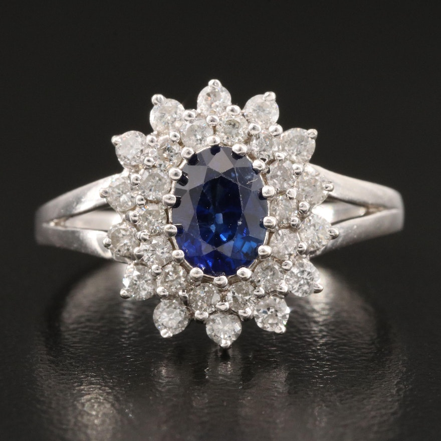 14K Sapphire and Diamond Double Halo Ring