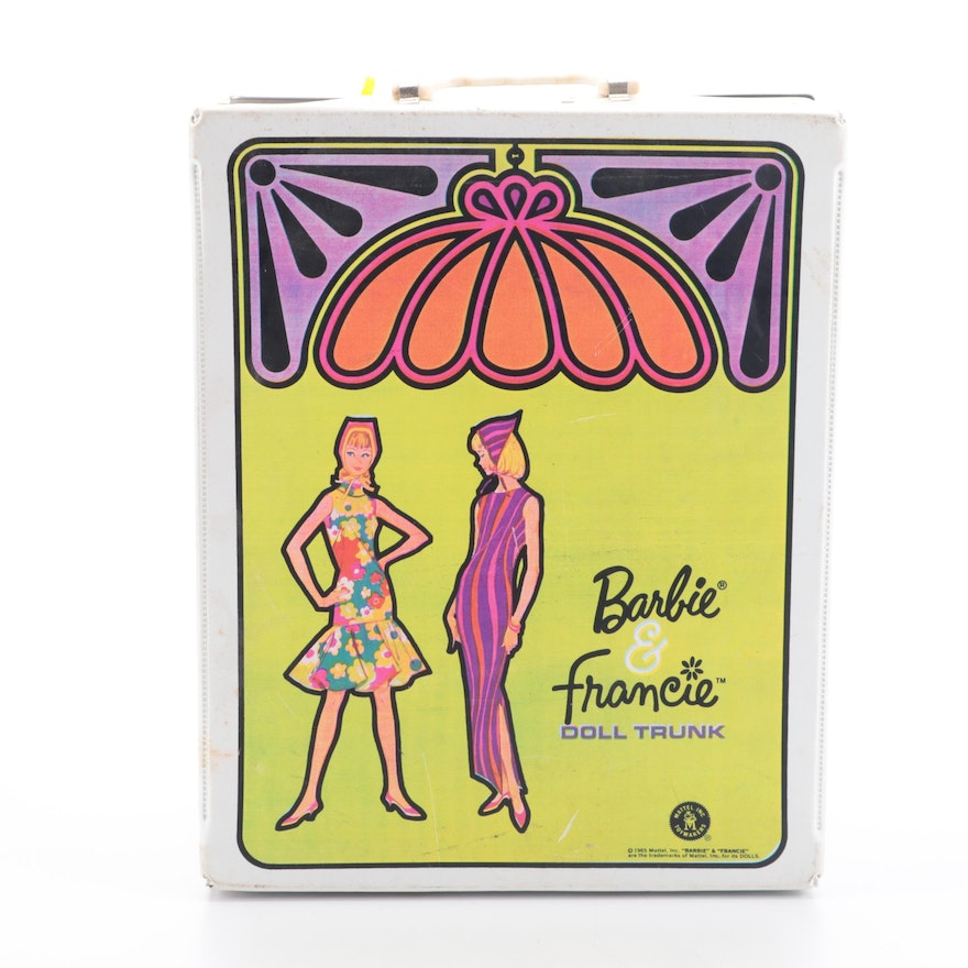 Mattel Barbie and Francie Dolls with Clothing and Accessories in Doll Trunk