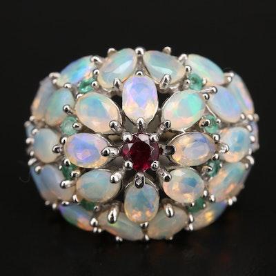 Sterling Opal, Garnet and Emerald Bombé Ring