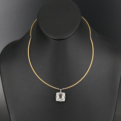 Charriol Rock Crystal Quartz and Diamond Pendant on Steel Cable Necklace