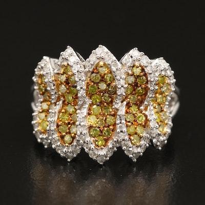 Sterling Silver Diamond Panel Ring
