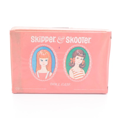 Mattel Skipper and Skooter Dolls with Carrying Case and Clothing, 1965