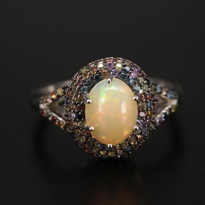 Sterling Opal Ring with Pavé Sapphire Accents