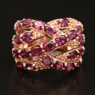 Sterling Silver Garnet Crossover Ring
