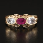 14K Ruby, Diamond and Sapphire Ring
