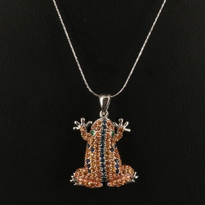 Sterling Sapphire and Tsavorite Frog Necklace