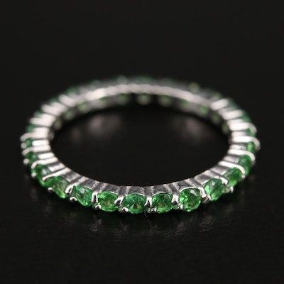 Sterling Diopside Eternity Band