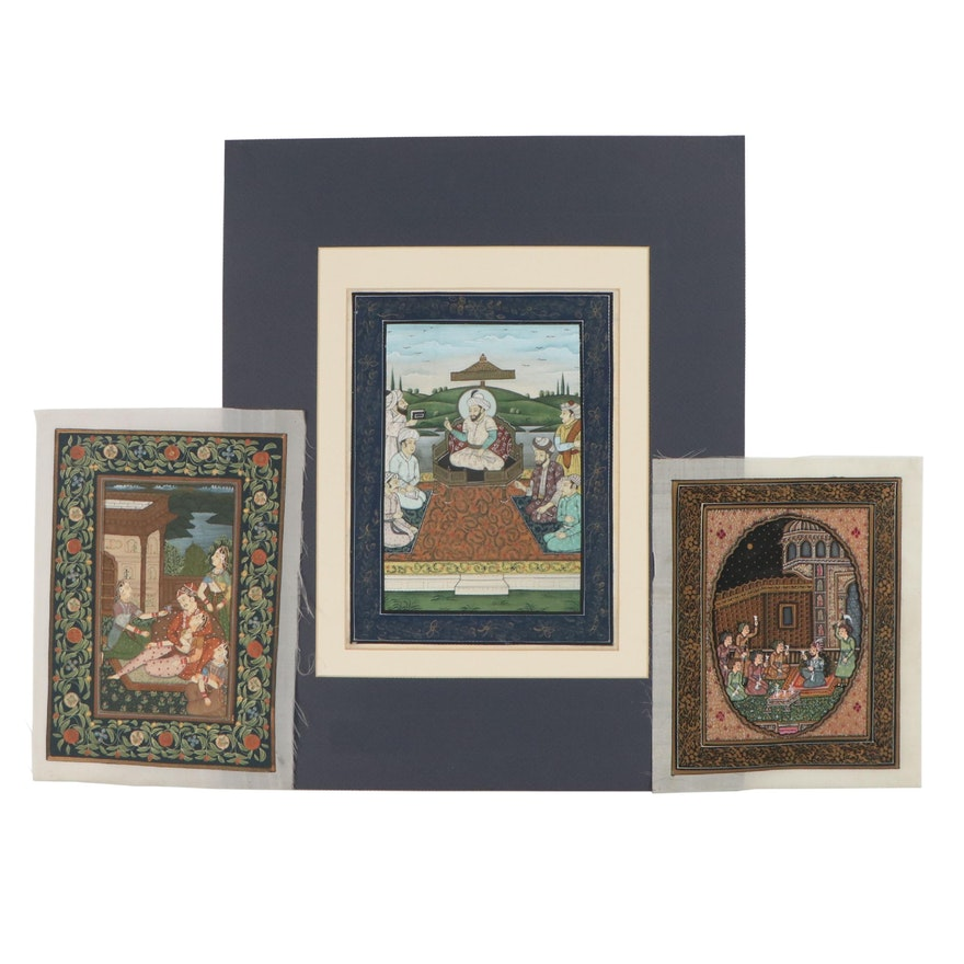 Mughal Style Courtly Scenes Gouache Paintings on Fabric