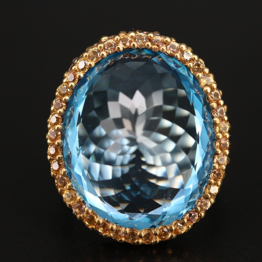 Sterling Swiss Blue Topaz and Sapphire Ring