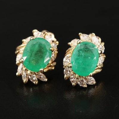 14K 5.10 CTW Emerald and 1.55 CTW Diamond Earrings
