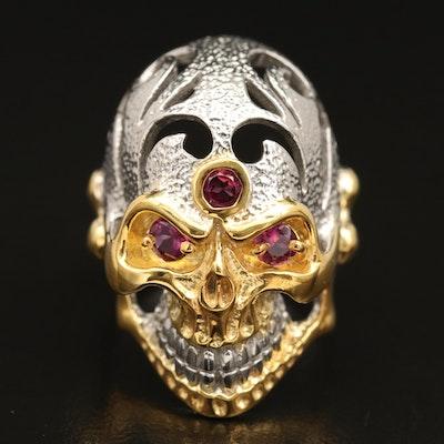 Sterling Silver Garnet Skull Ring