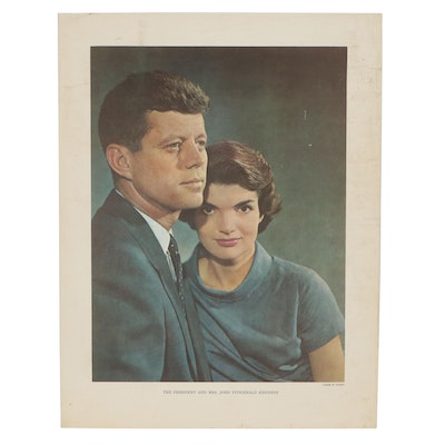 Offset Lithograph Portrait After Yousuf Karsh of the Kennedys, Circa 1960