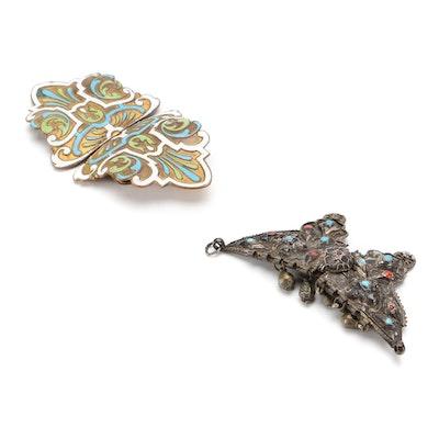 Glass and Enamel Embellished Metal Belt Buckles