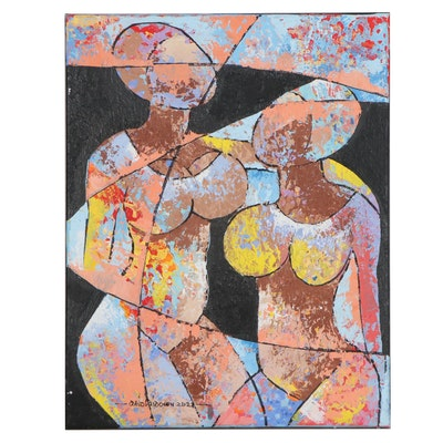 "Abiola Idowu Mixed Media Painting ""Friendship"""